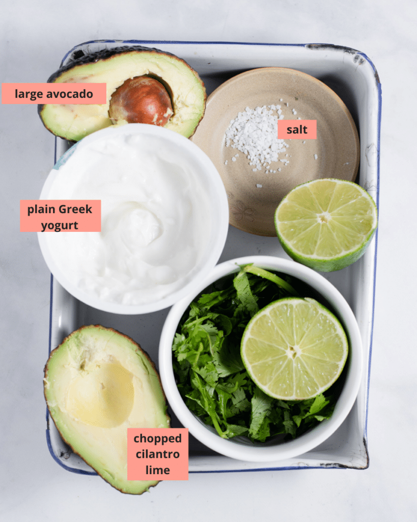 Avocado crema ingredients with name labels