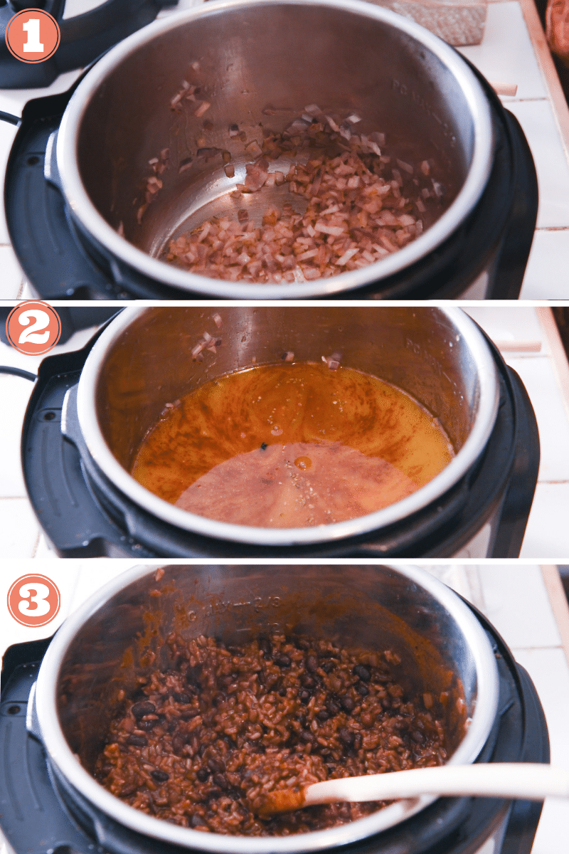 Three images showing steps to make rice and beans