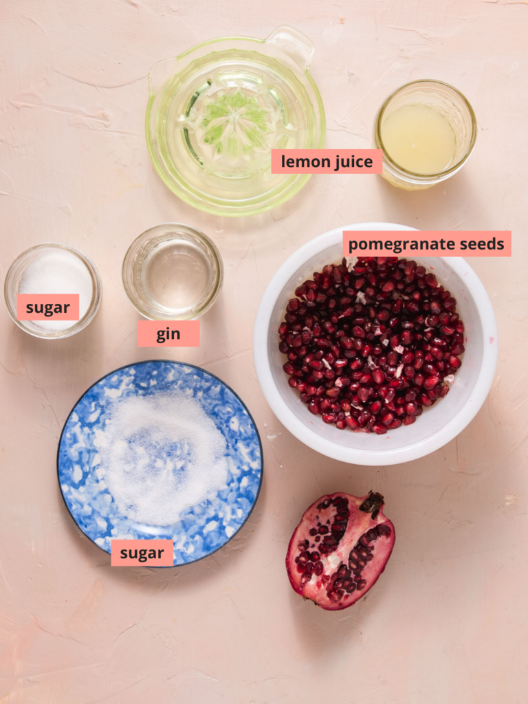 Labeled ingredients used to make pomegranate cocktails