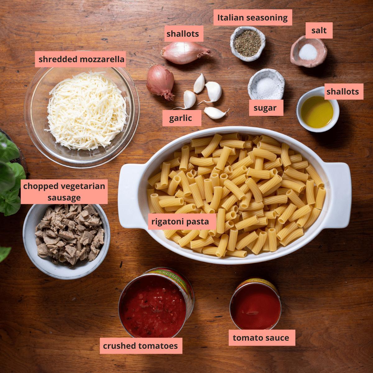 Labeled rigatoni bake ingredients