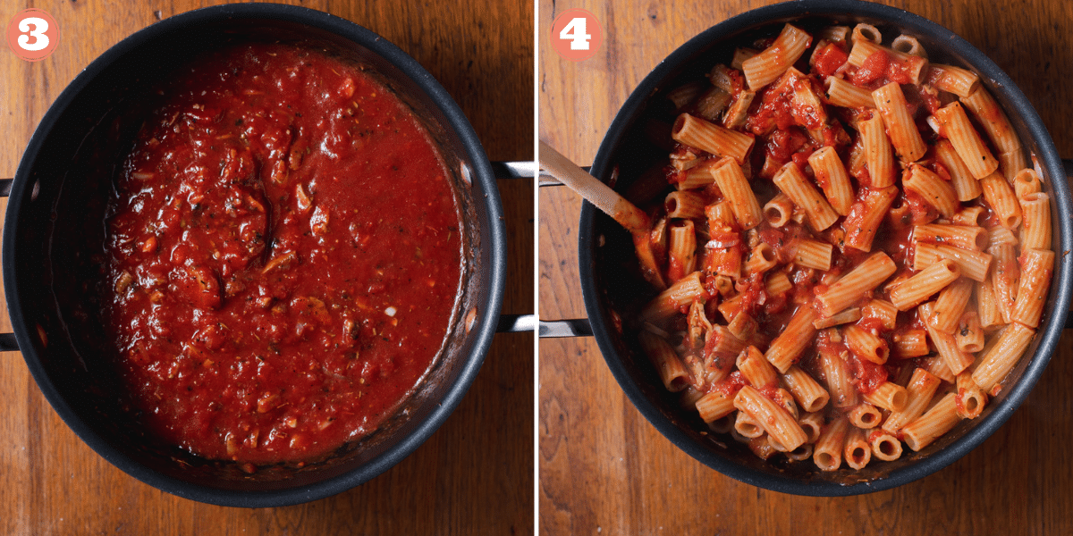 Two images showing steps 3 and 4 to make rigatoni pasta