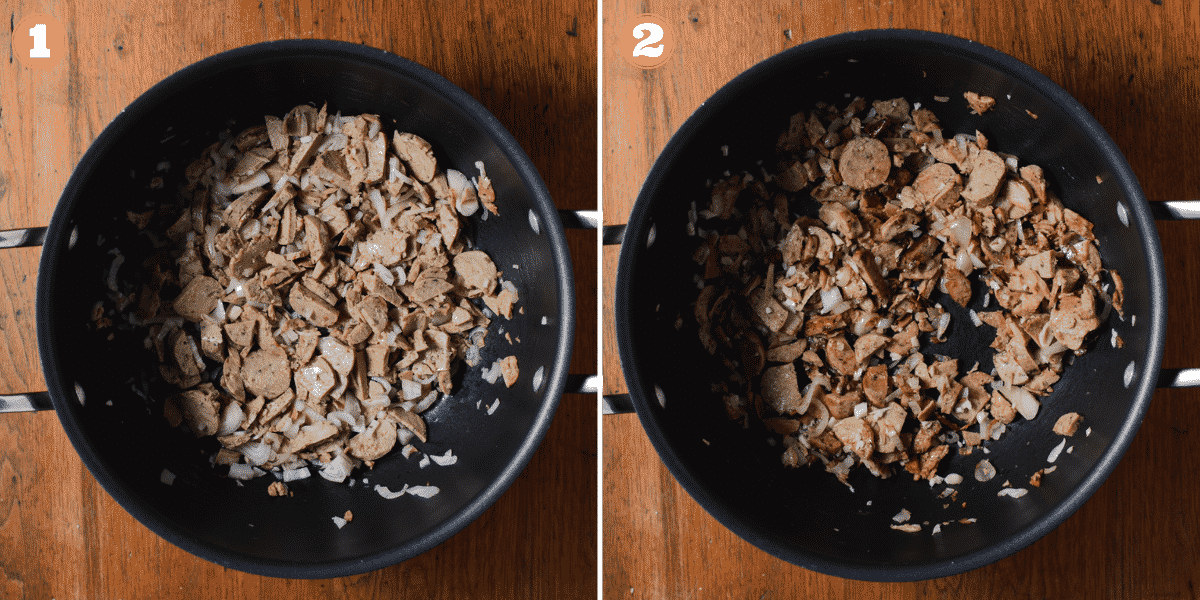 Two images showing steps 1 and 2 to make rigatoni pasta