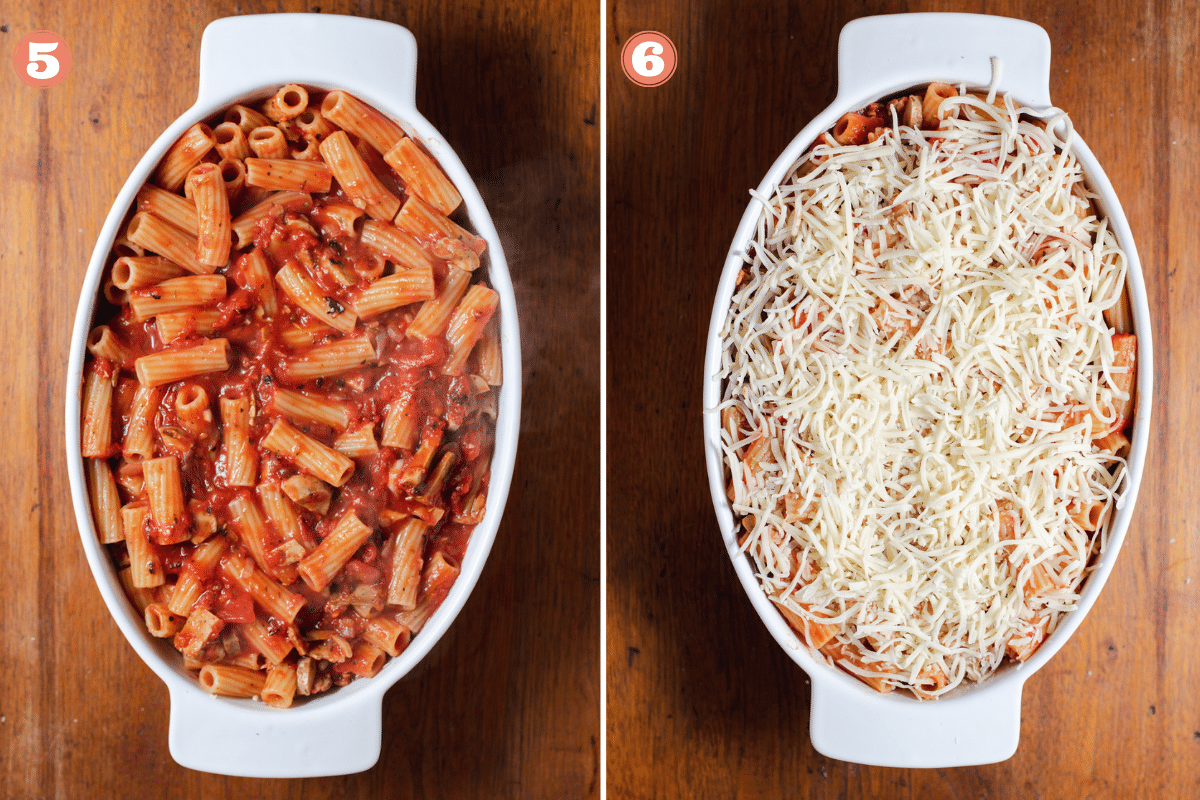 Two images showing steps 5 and 6 to make rigatoni pasta