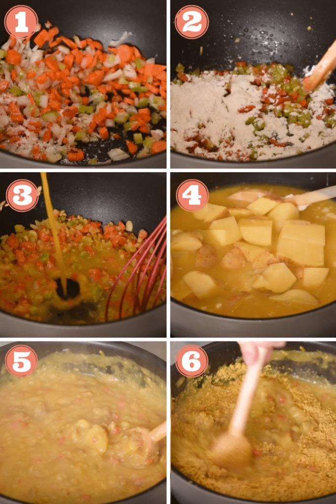 Graphic showing six steps to make potato soup