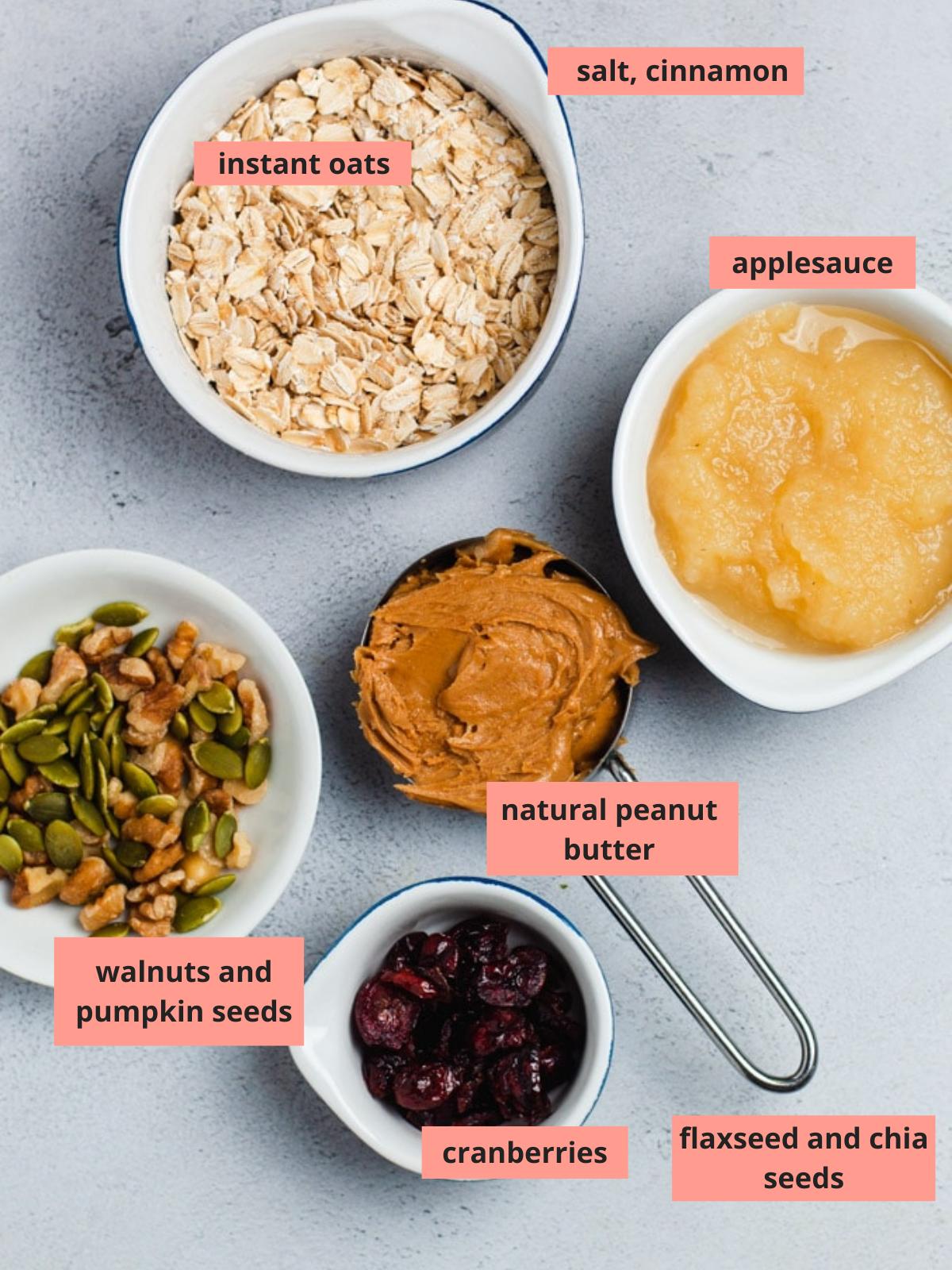 Labeled ingredients used to make breakfast cookies