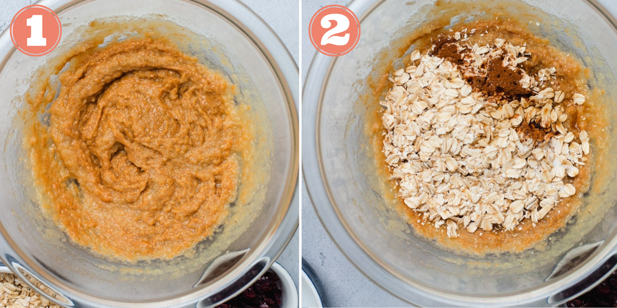 Steps 1 and 2 to make breakfast cookies