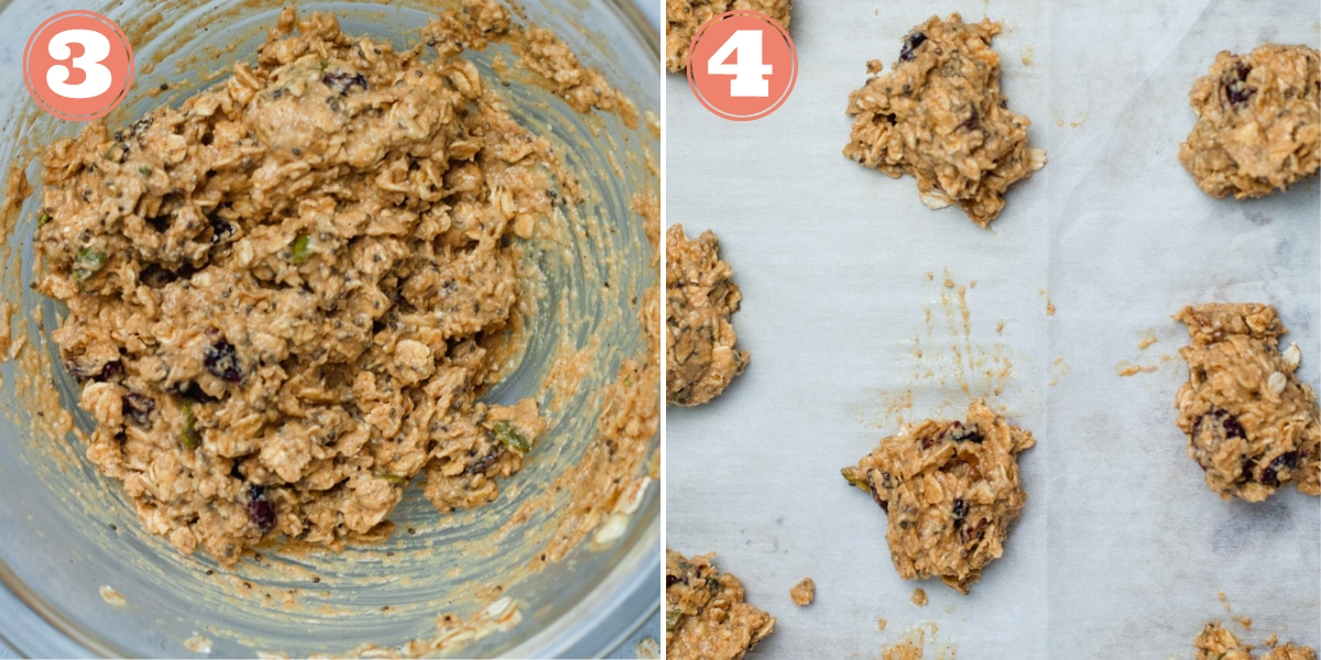 Steps 3 and 4 to make breakfast cookies