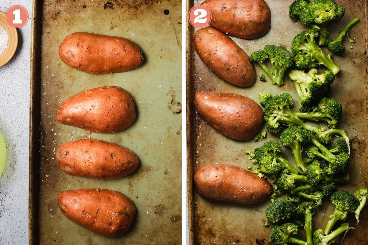 Steps 1 and 2 to make roasted sweet potatoes and broccoli