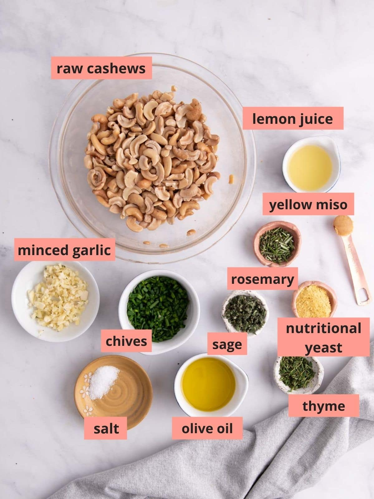 Labeled ingredients used to make cashew cream cheese