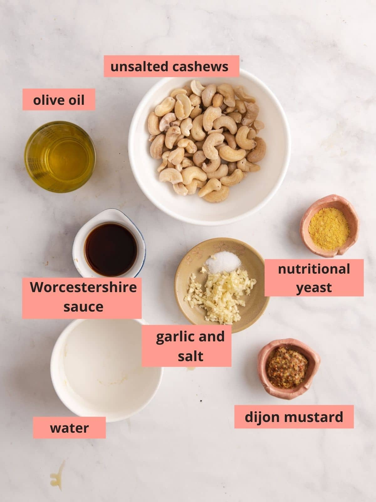 Ingredients used to make caesar dressing
