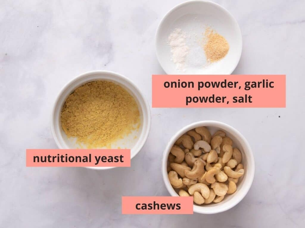 Labeled ingredients used to make cashew parm
