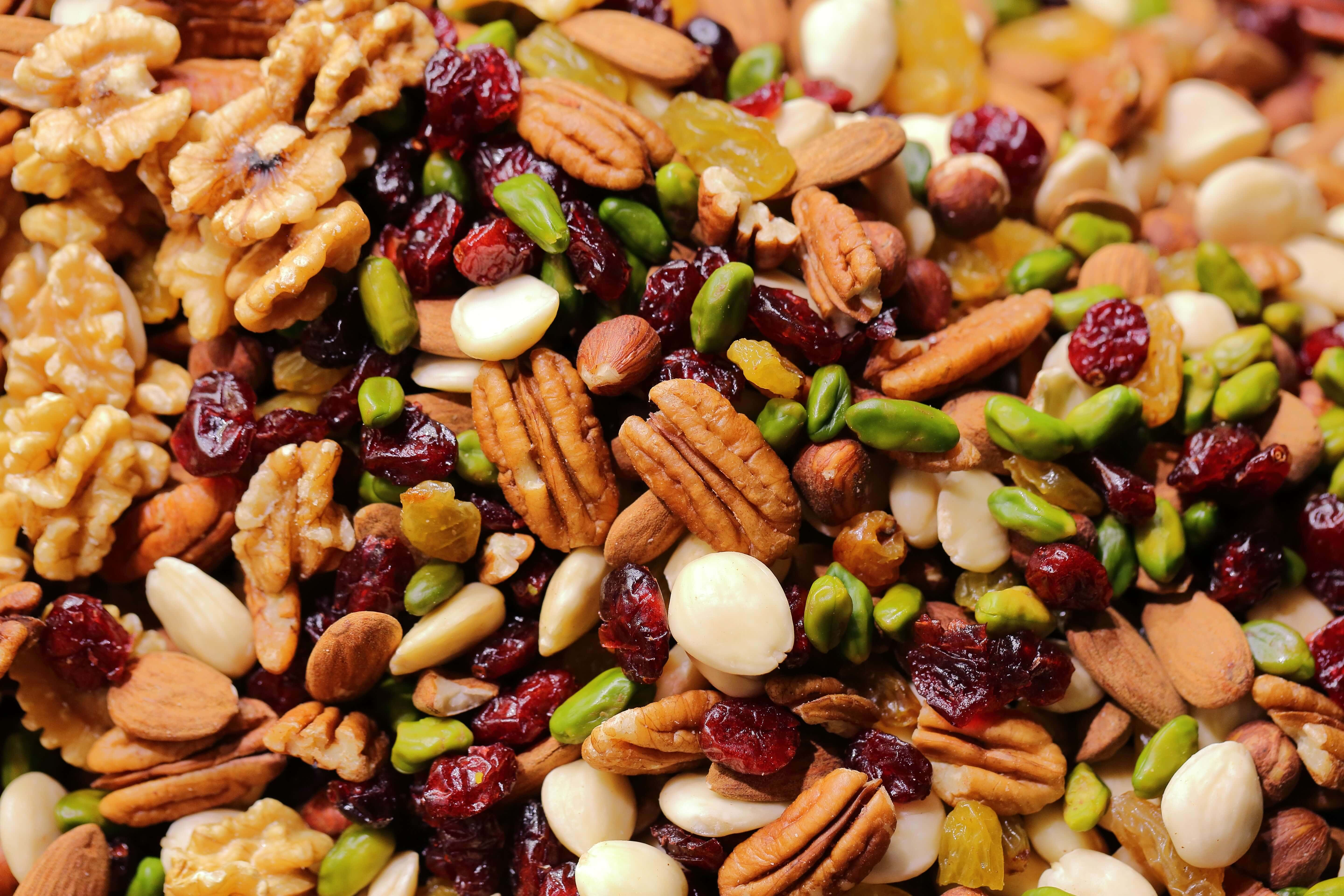 Close up detail of walnuts, pumpkin seeds and nuts