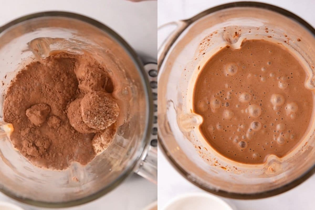 Chocolate smoothie before and after blending