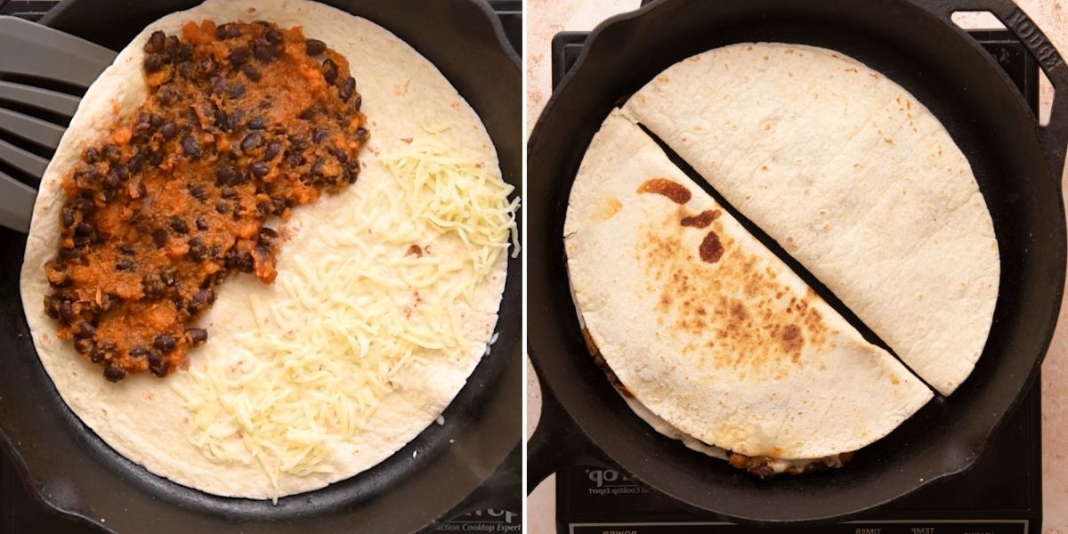 Quesadilla with cheese, sweet potato and black beans before and after being folded in half