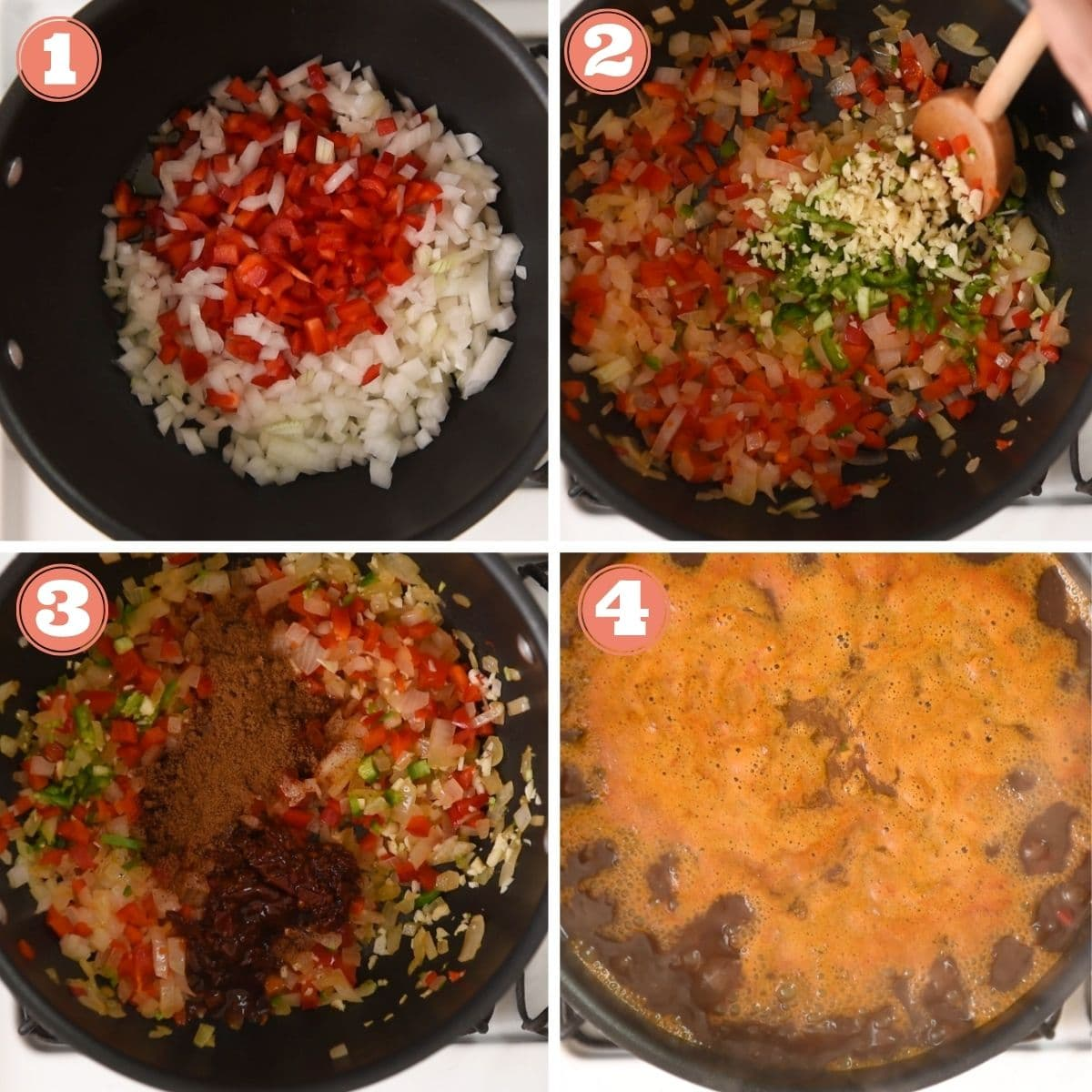 Steps 1 through 4 to make black bean soup