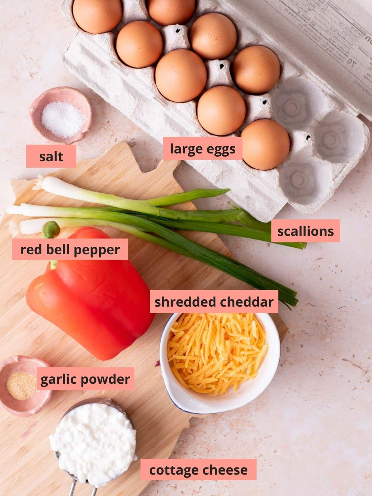 Labeled ingredients used to make egg bites