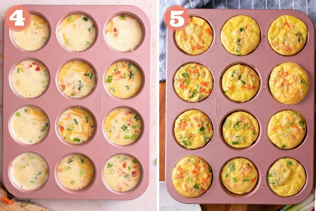 Steps 4 and 5 to make egg muffins