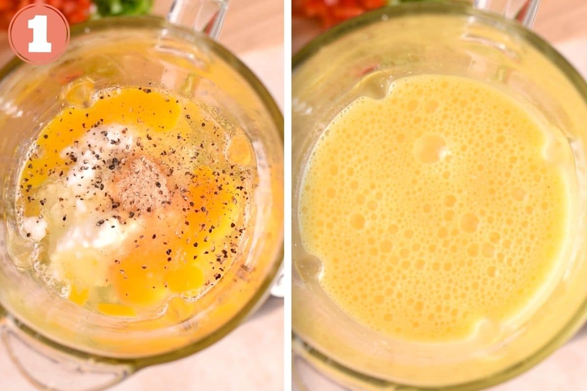 Step one showing egg before and after blending