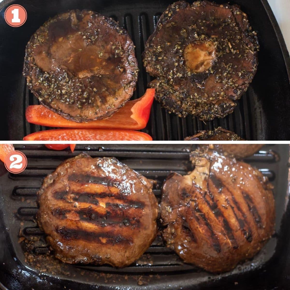 Steps 1 and 2 to make mushrooms on a grill pan