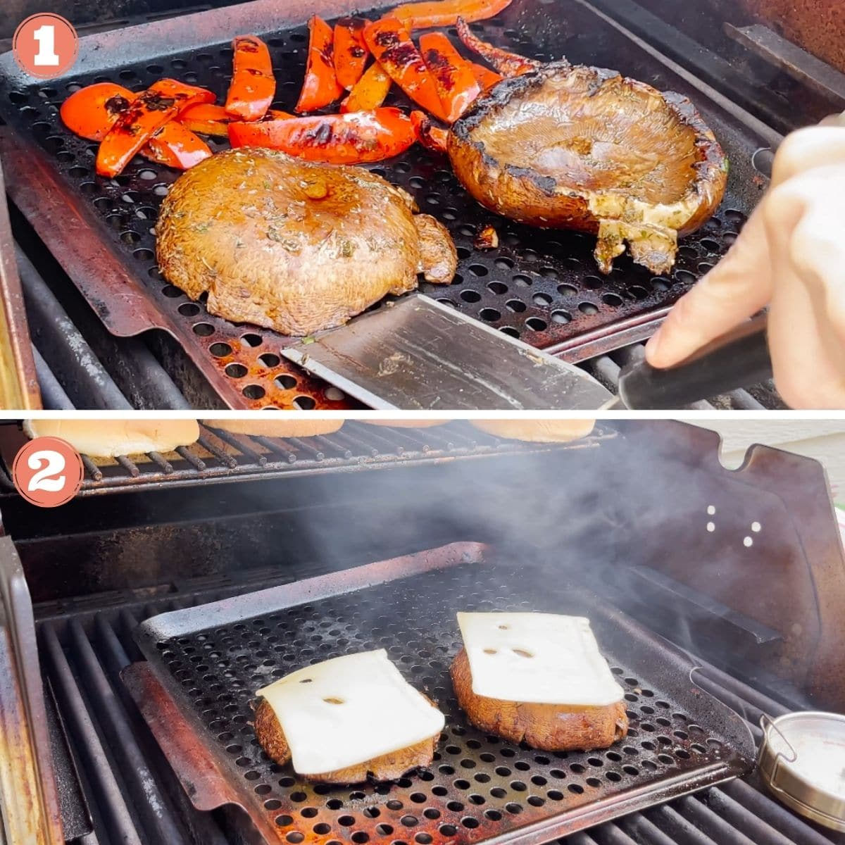 Steps 1 and 2 to grill mushrooms