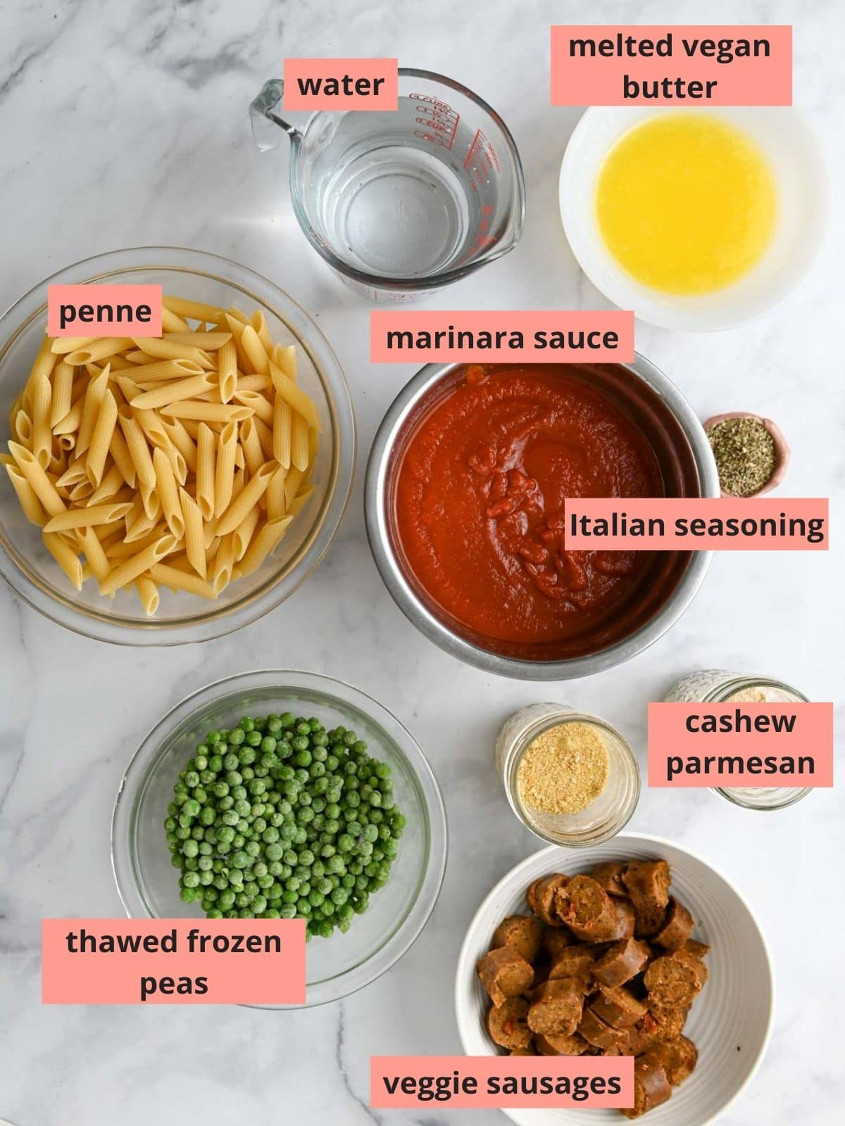 Labeled ingredients used to make pasta bake