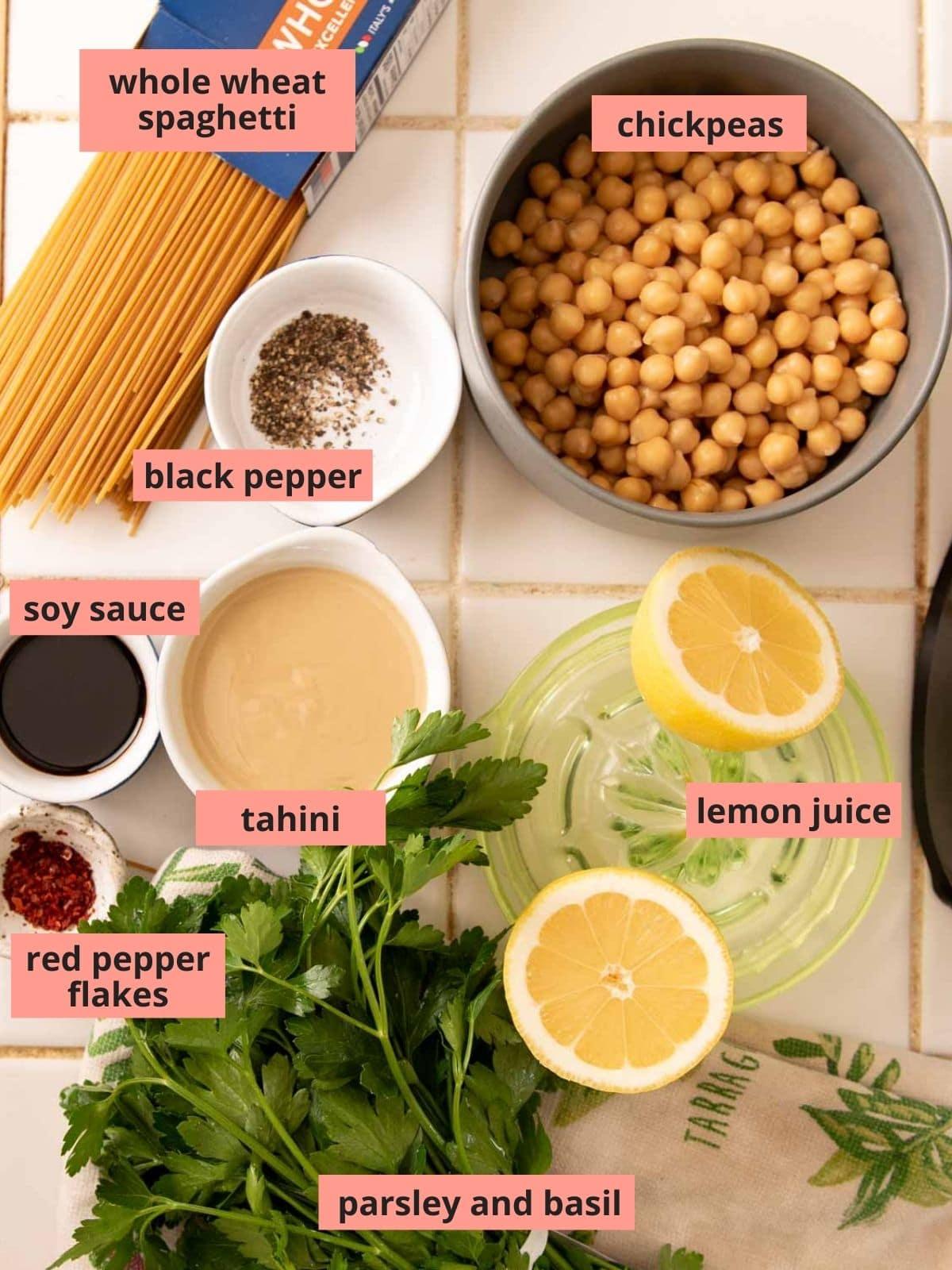 Labeled ingredients used to make tahini pasta