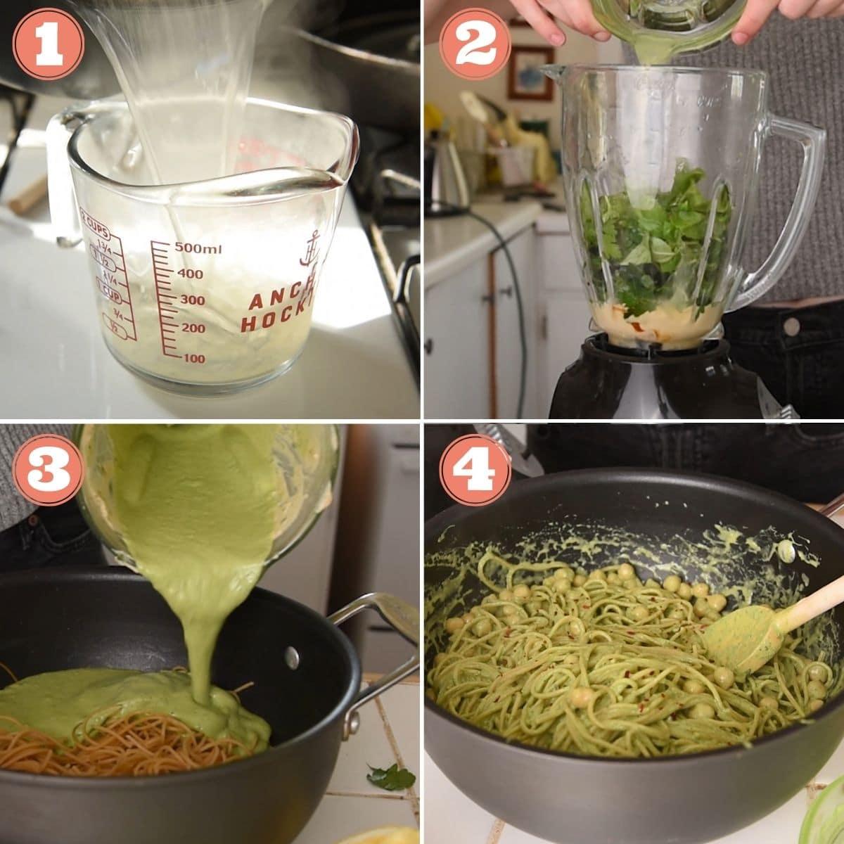Steps 1 through 4 to make tahini pasta