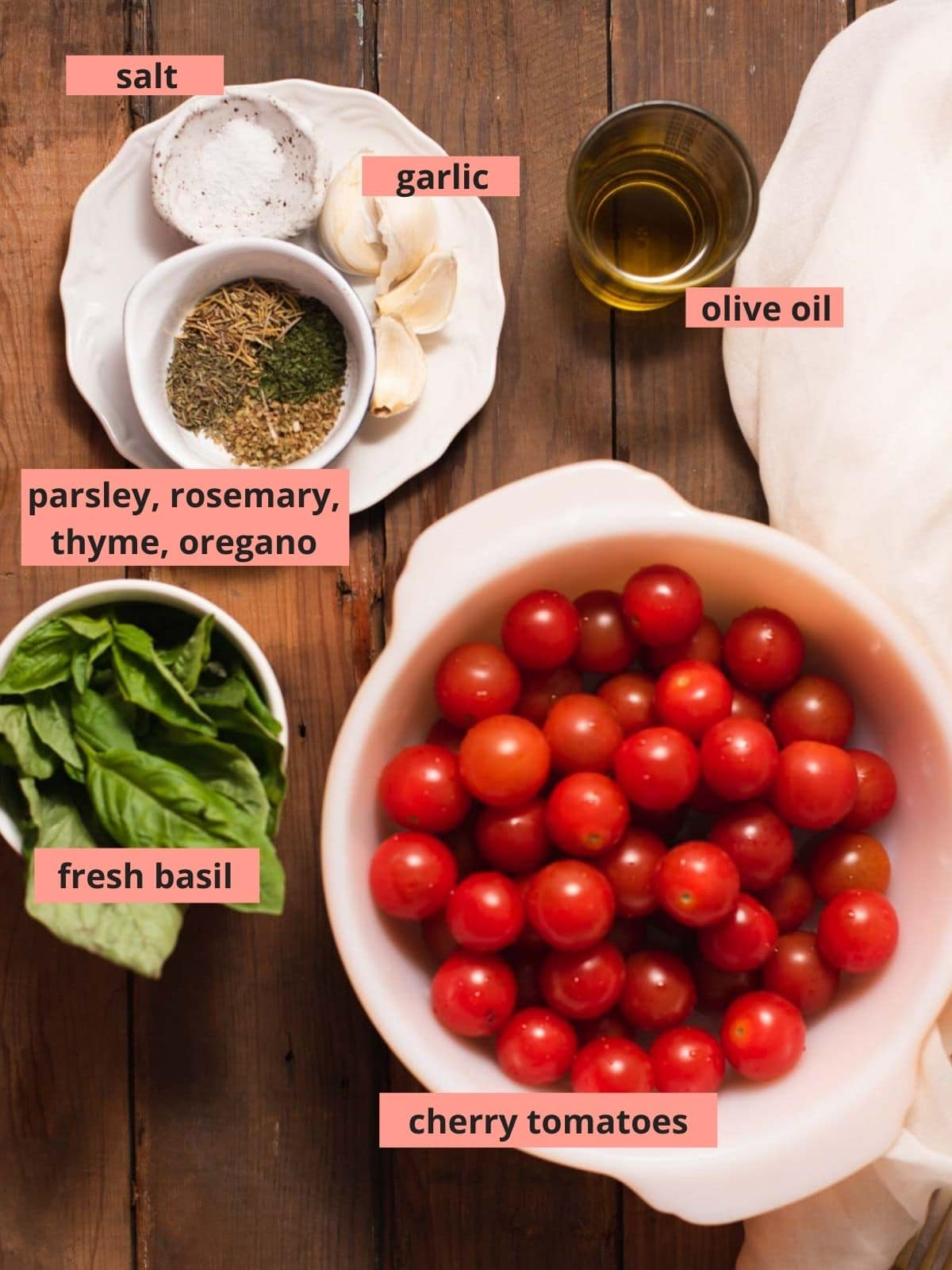 Labeled ingredients used to make cherry tomato sauce