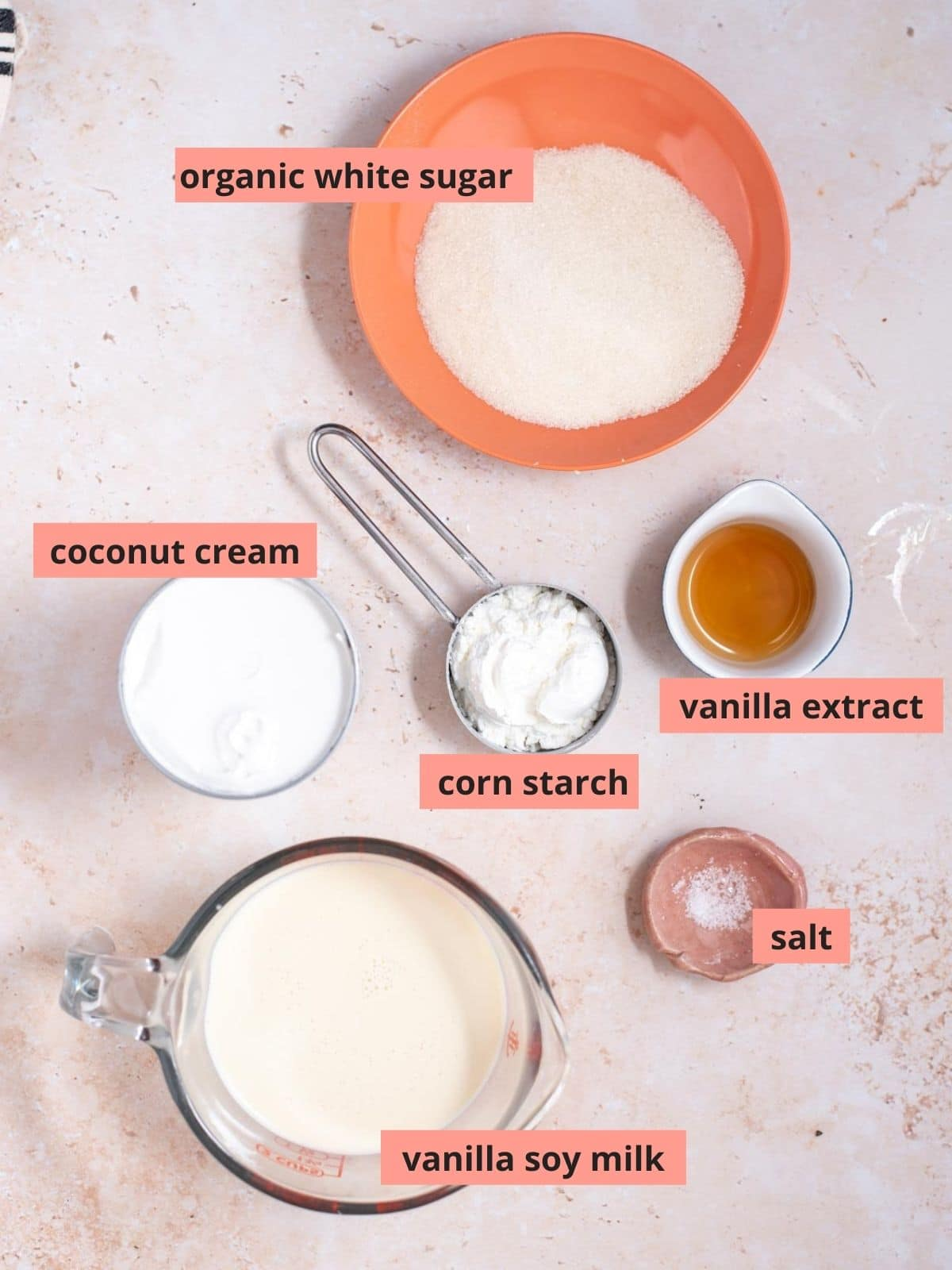 Labeled ingredients used to make banana pudding