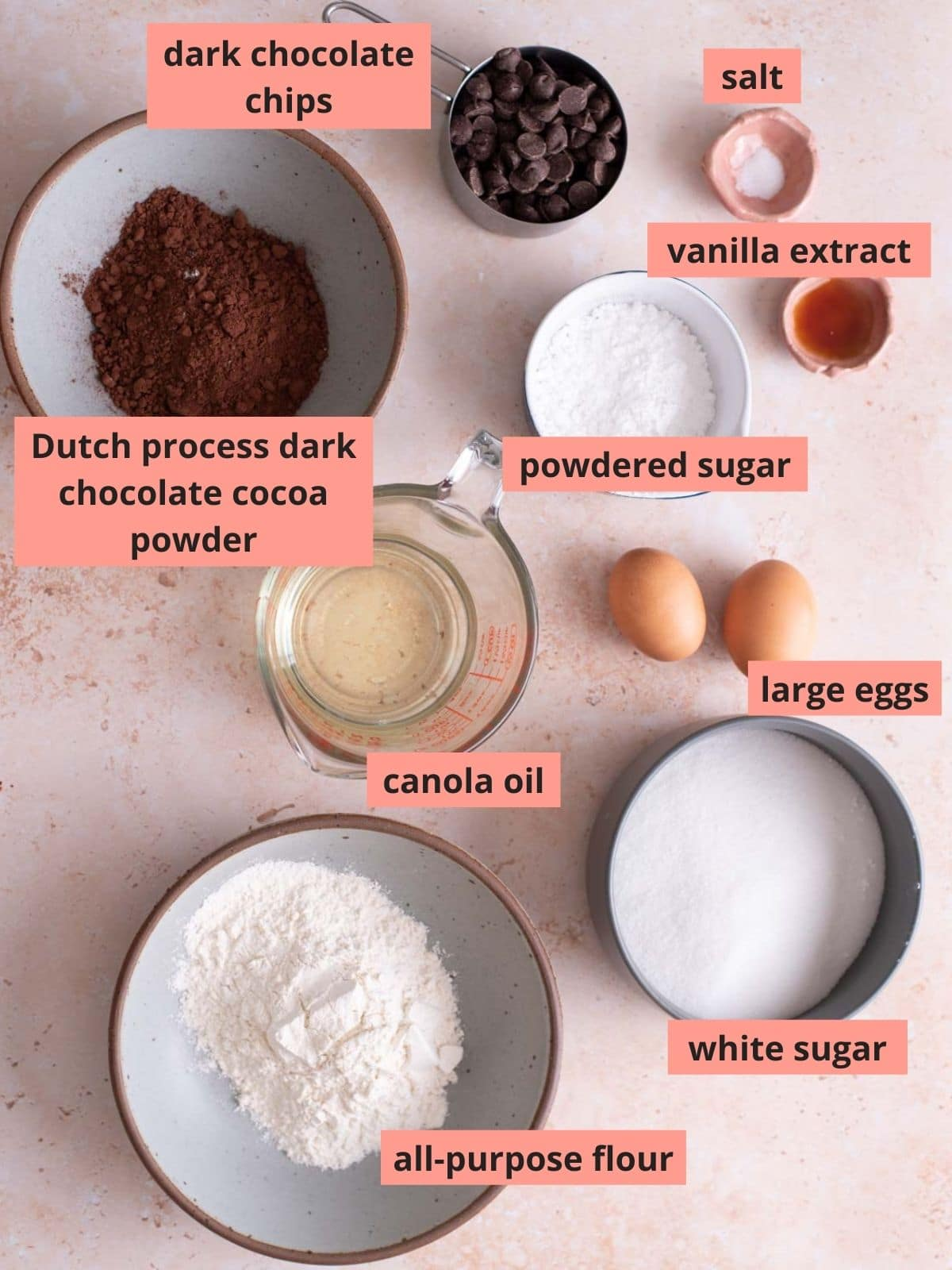 Labeled ingredients used to make brownies