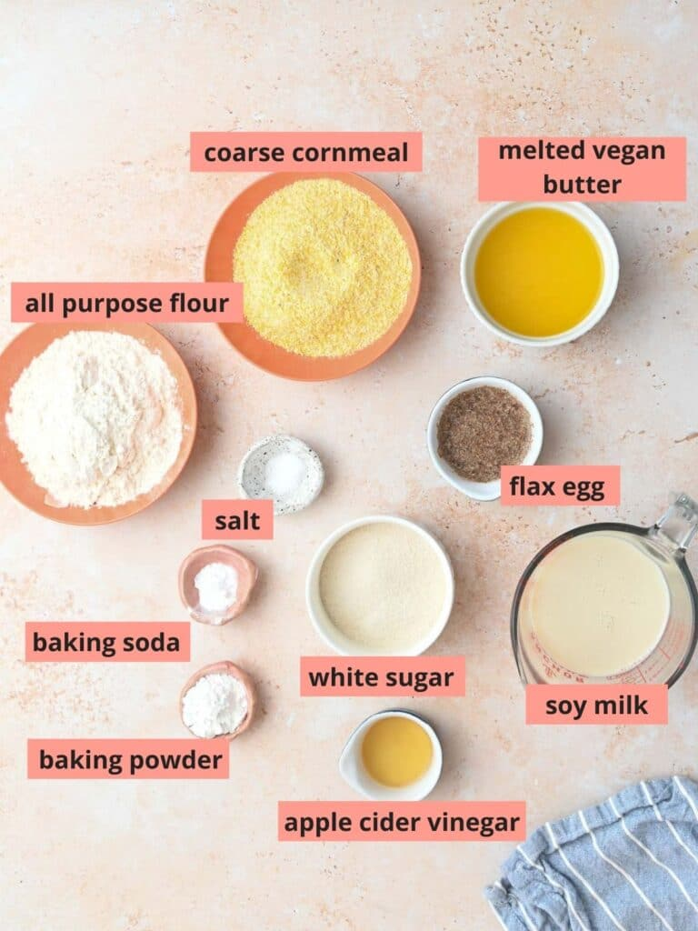 Labeled ingredients used to make cornbread