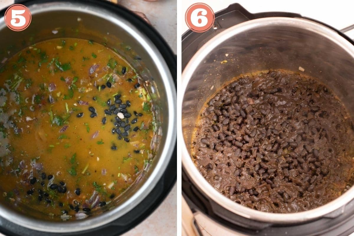 Steps 5 and 6 to make instant pot black beans