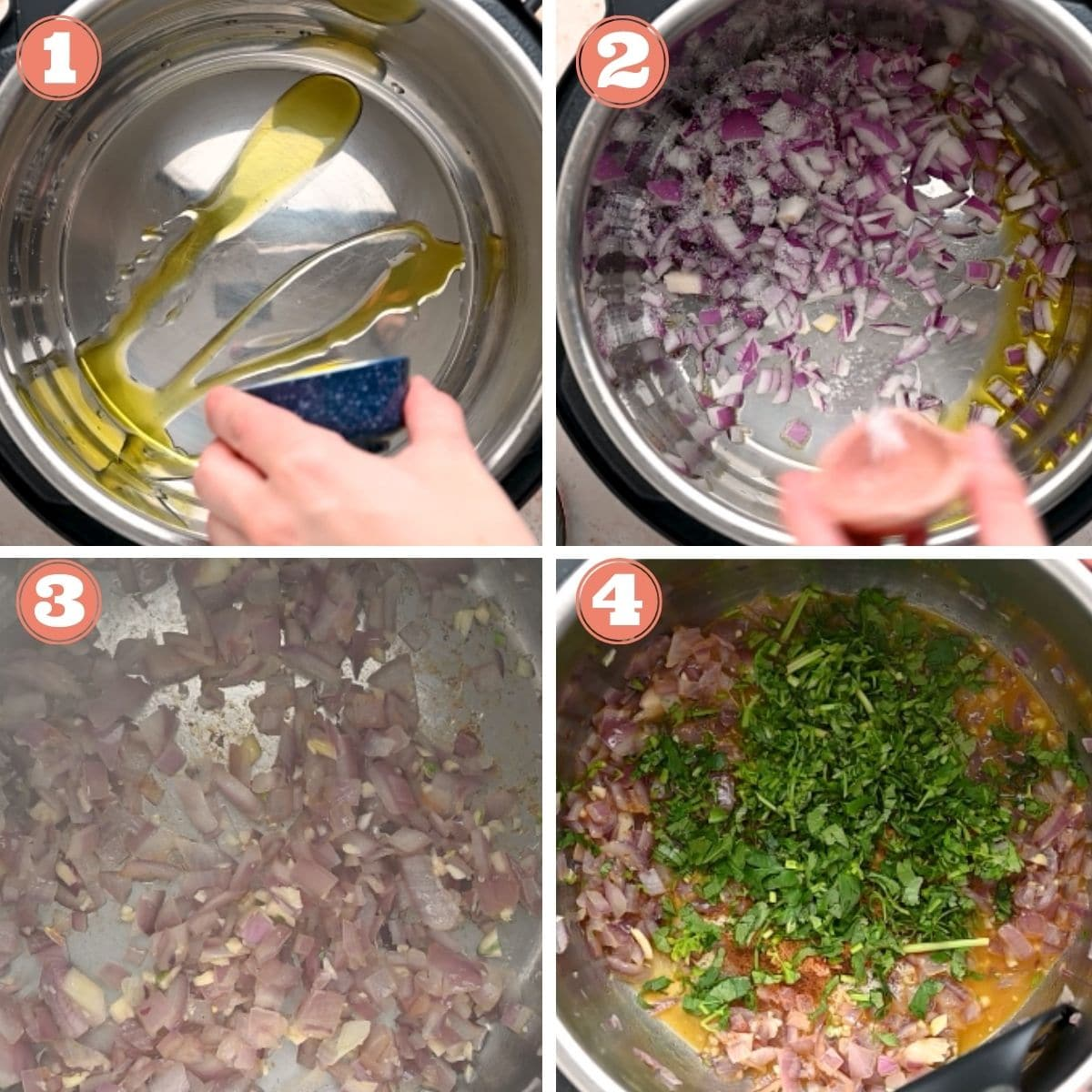 Steps 1 through 4 to make instant pot black beans