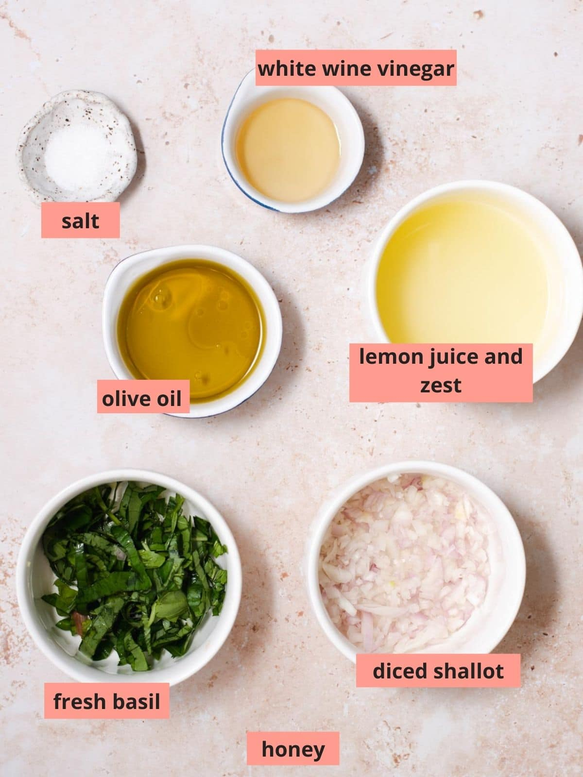 Labeled ingredients used to make lemon vinaigrette
