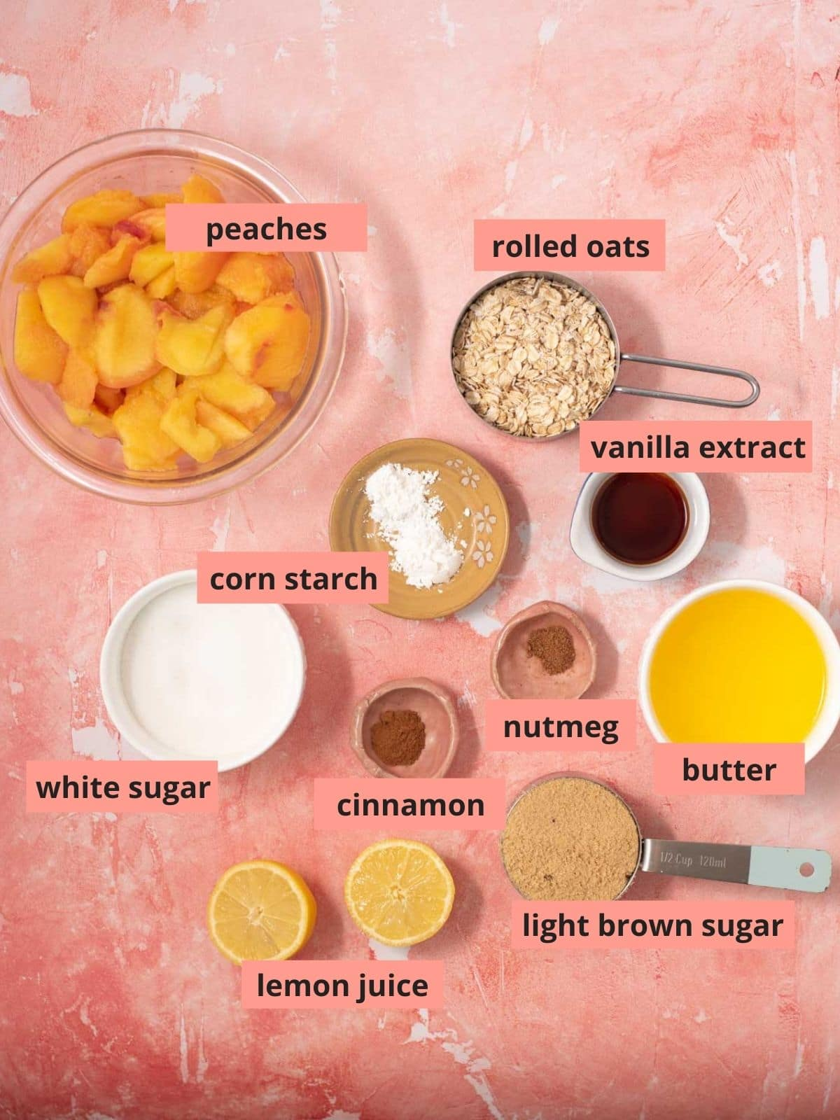 Labeled ingredients used to make peach bars