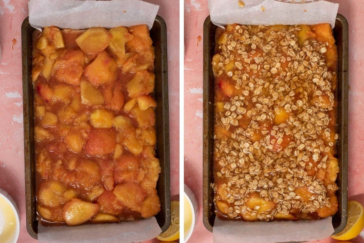 Peach filling in a metal baking dish and peach filling covered with oatmeal crumb topping