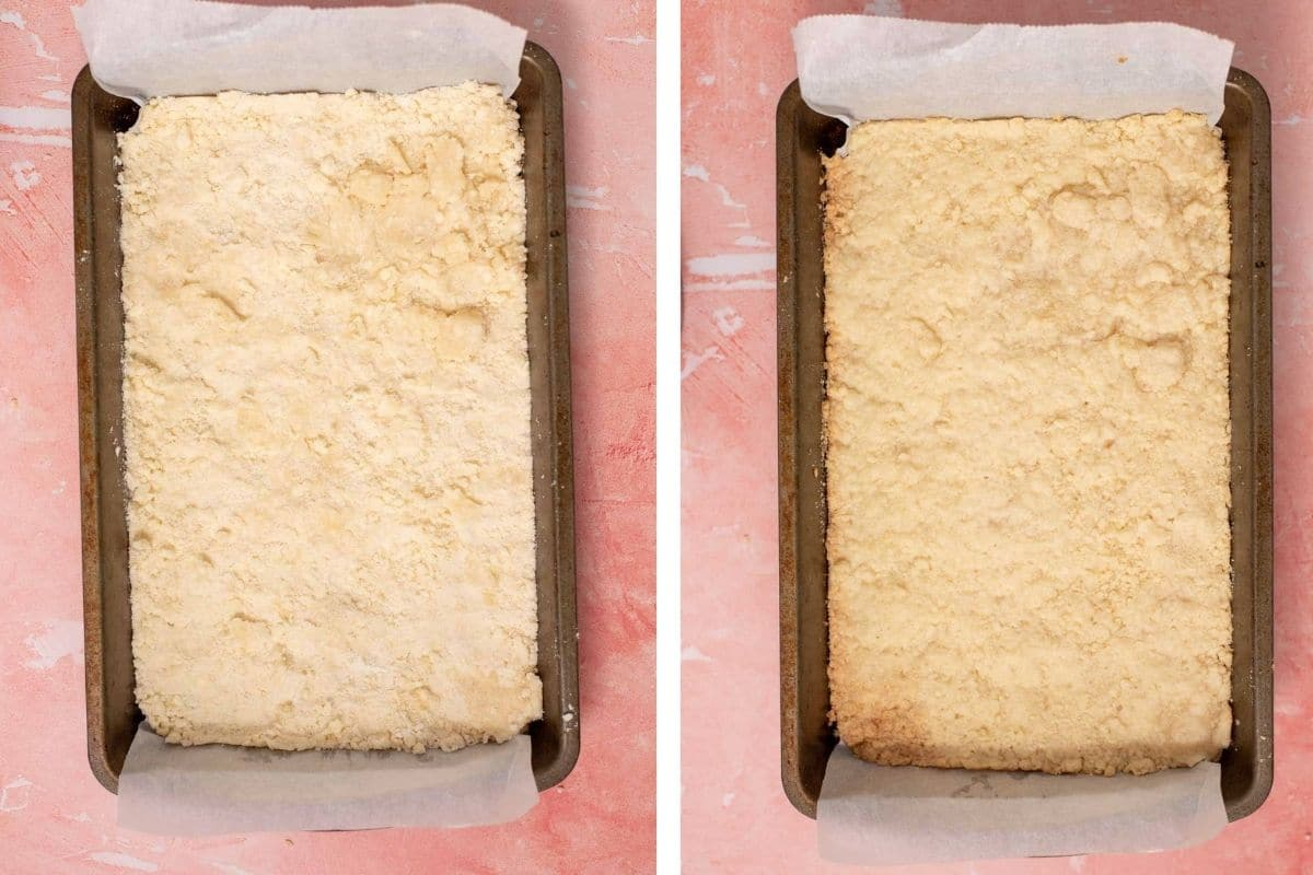 Pie crust in a metal baking dish before and after baking