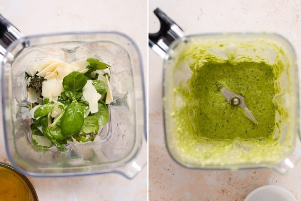 Pesto before and after blending together ingredients in a blender