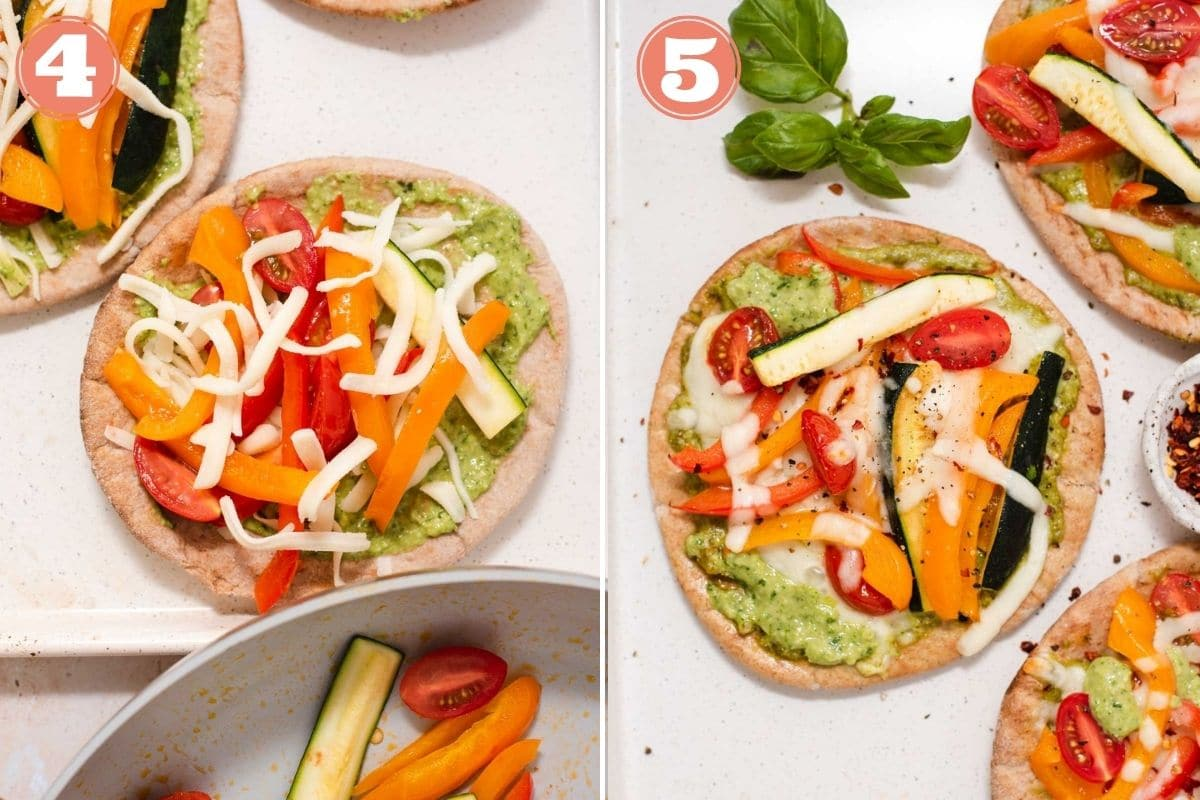Steps 4 and 5 to make pita pizzas