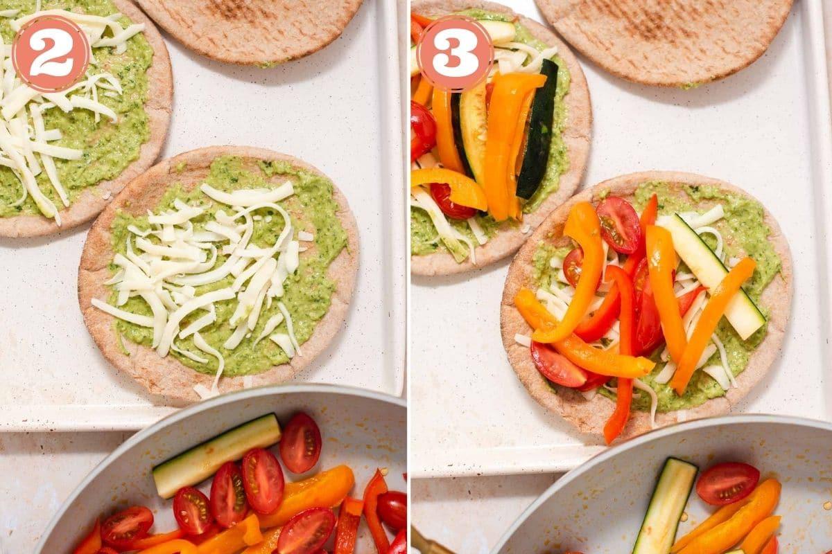 Steps 2 and 3 to make pita pizzas