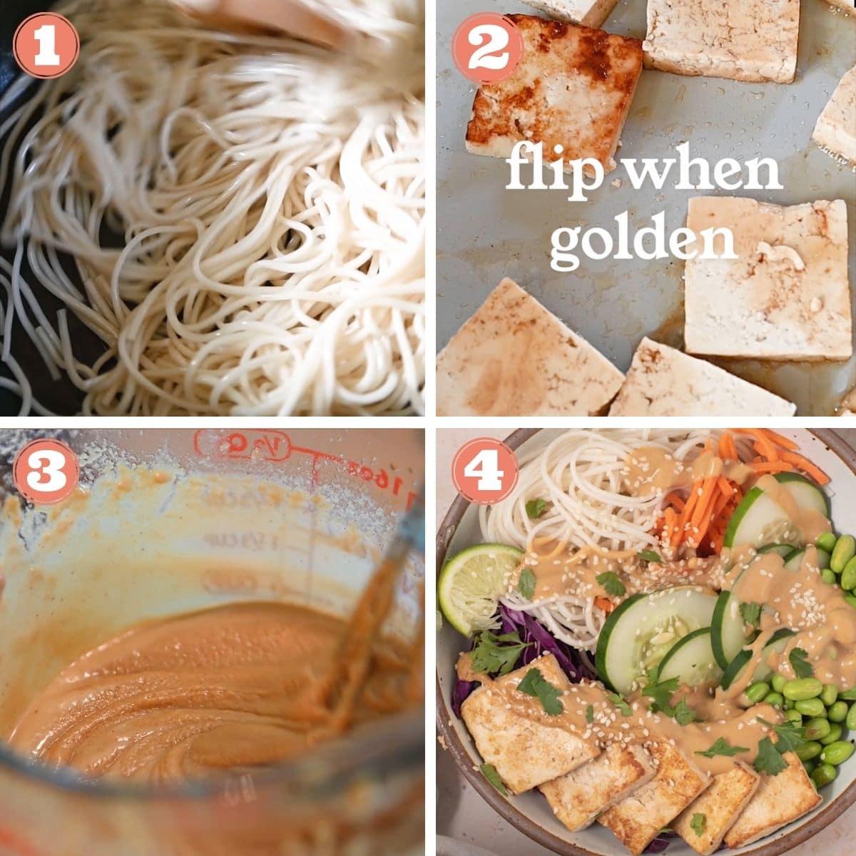 Steps 1 through 4 to make spring roll bowls