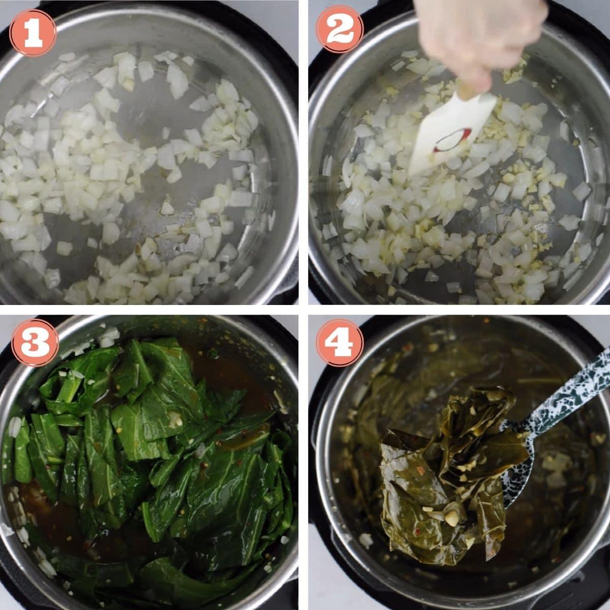 Steps 1 through 4 to make collard greens