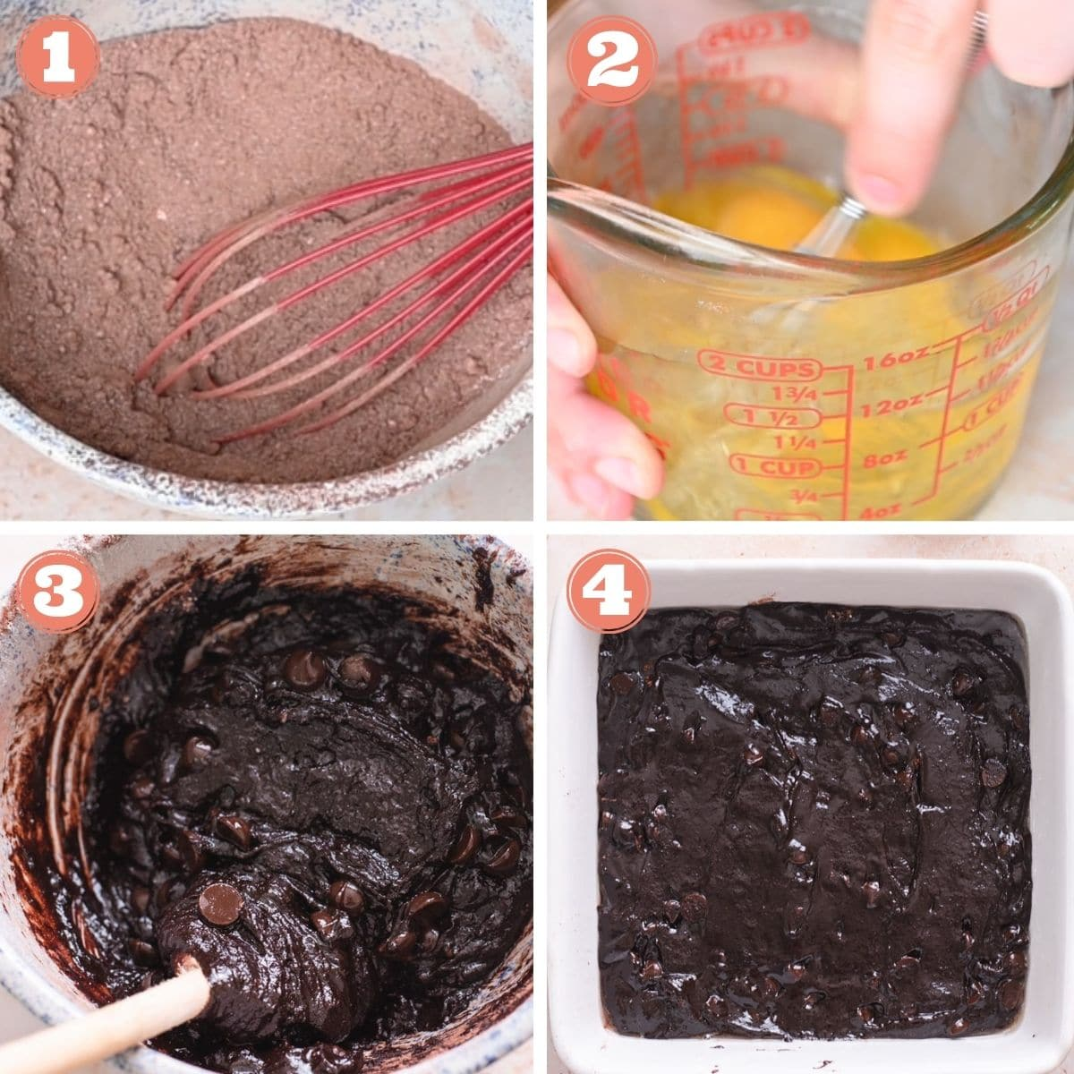 Steps 1 through 4 to make brownies