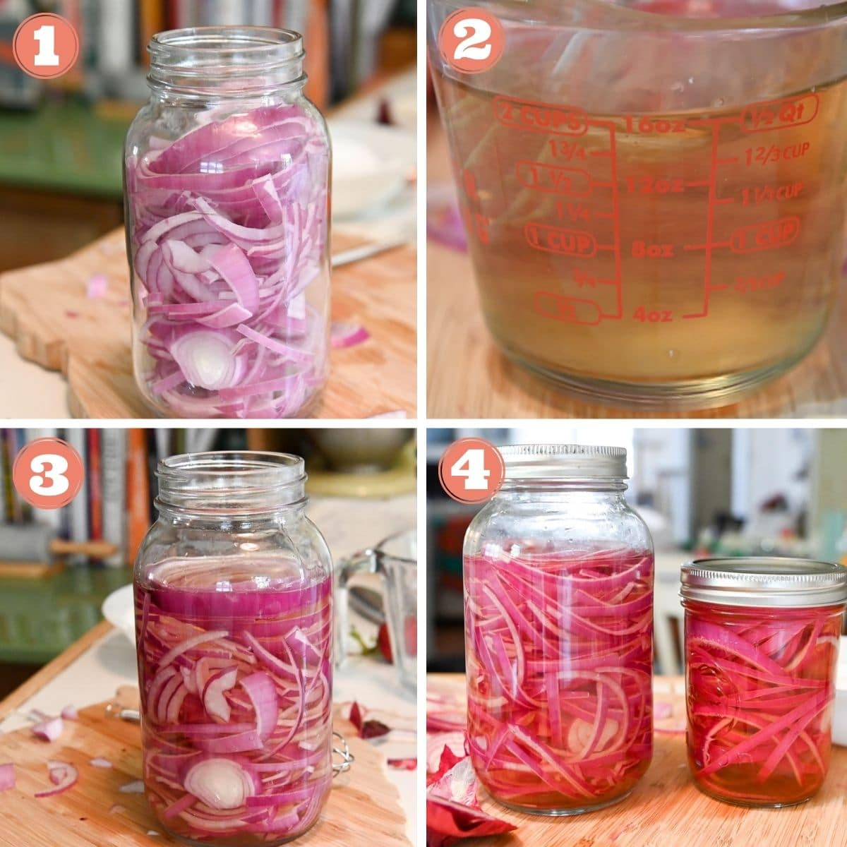 Diagram of steps 1 through 4 to make pickled onions