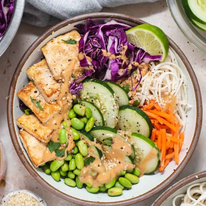 Overhead view of white bowl filled with spring roll ingredients