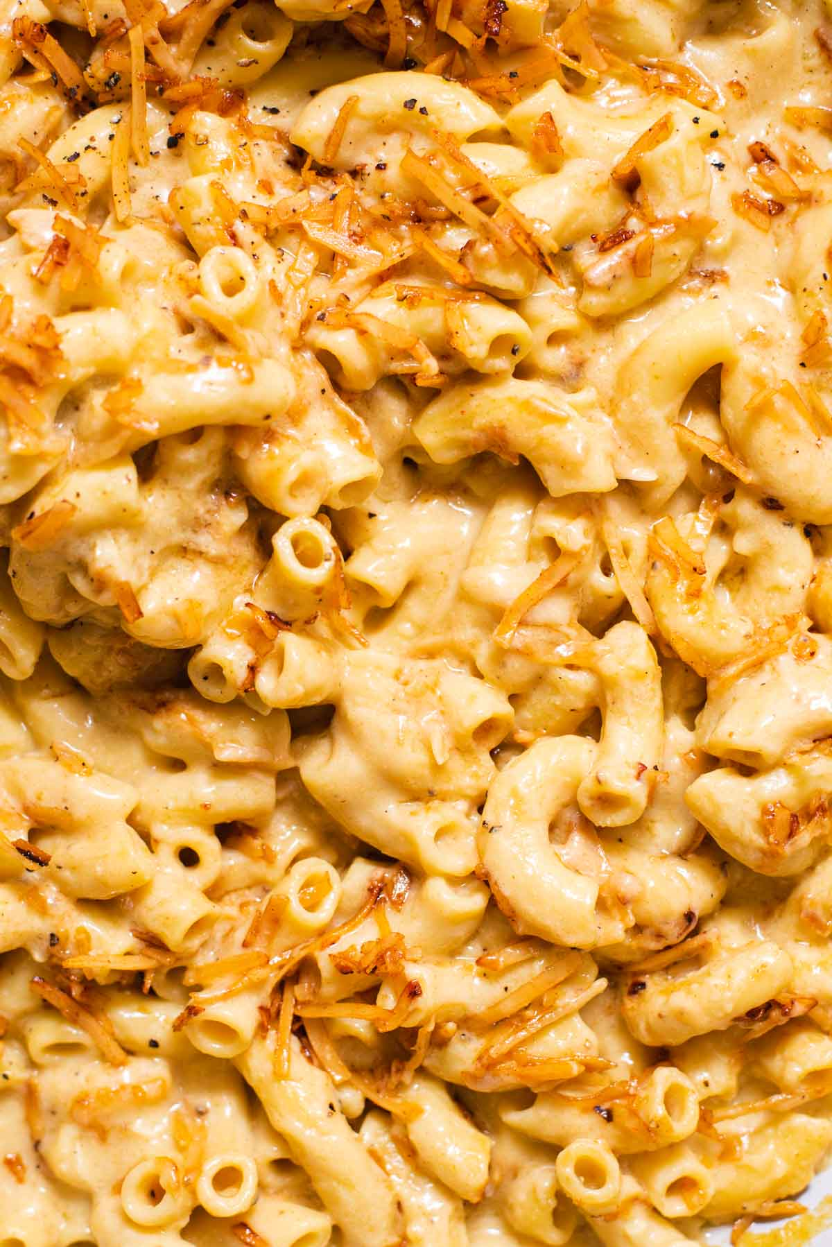 Close up of texture of elbow mac and cheese with shredded coconut flakes