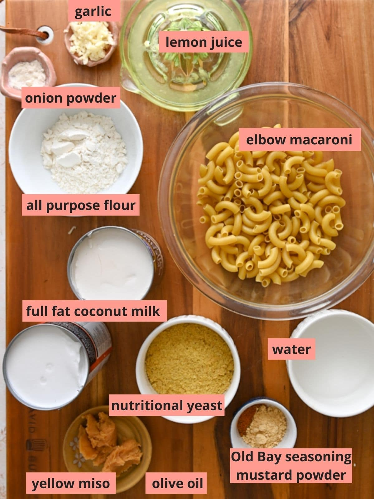 Labeled ingredients used to make vegan mac and cheese