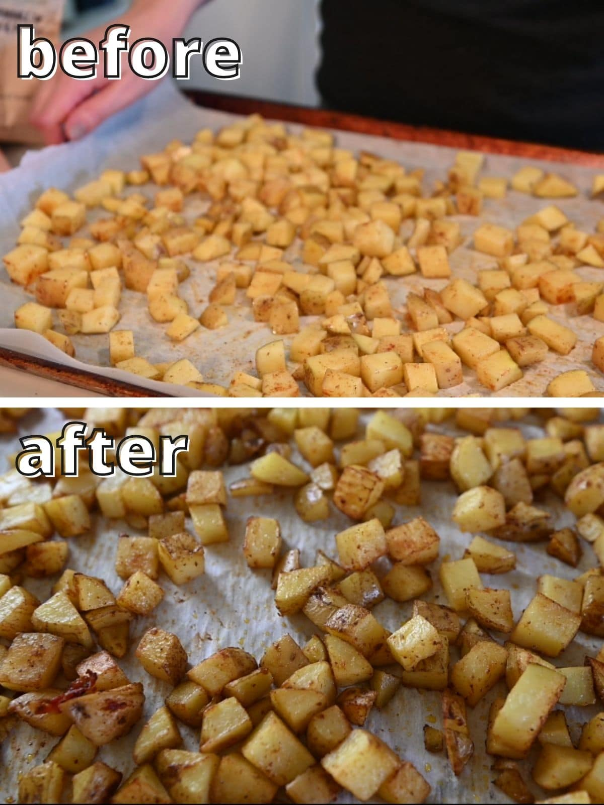 Before and after potatoes cooking on sheet pan