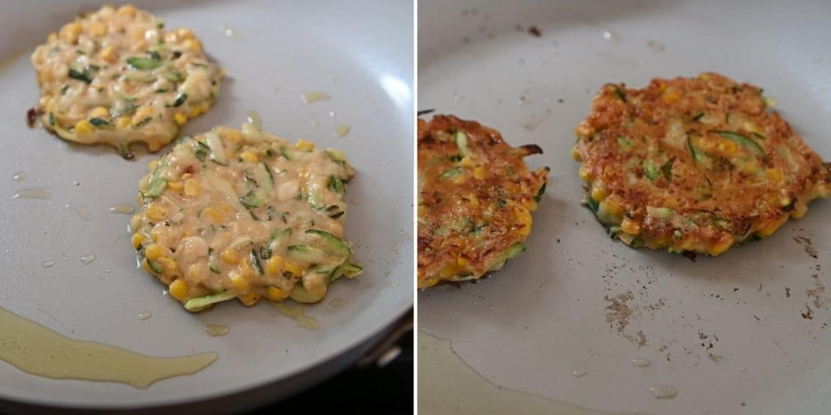 Zucchini corn fritters before and after flipping on a skillet