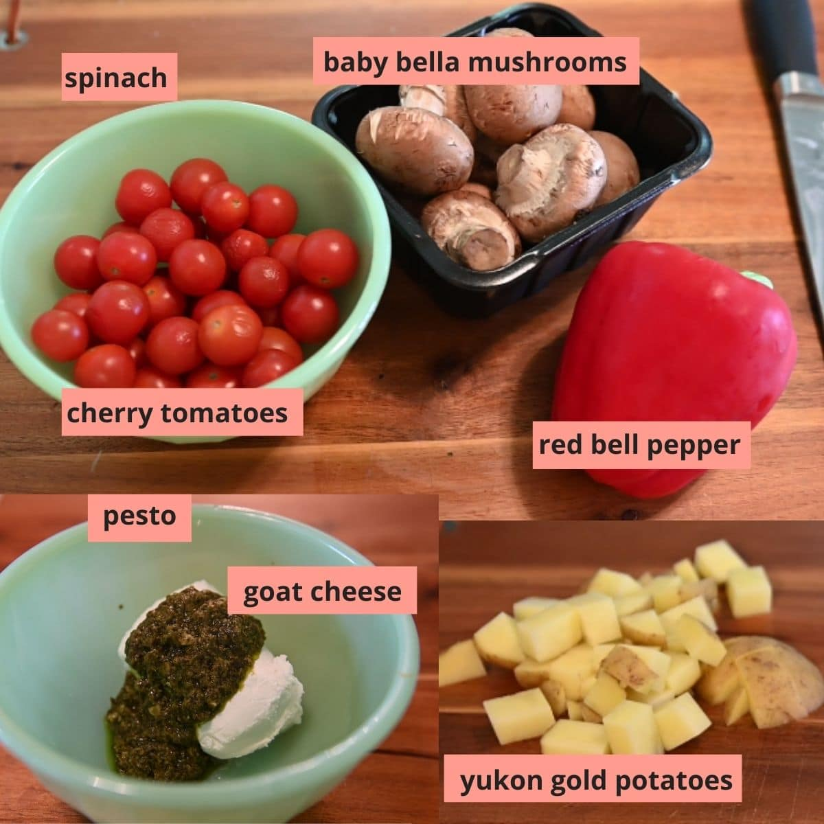 Labeled ingredients used to make veggie bowls
